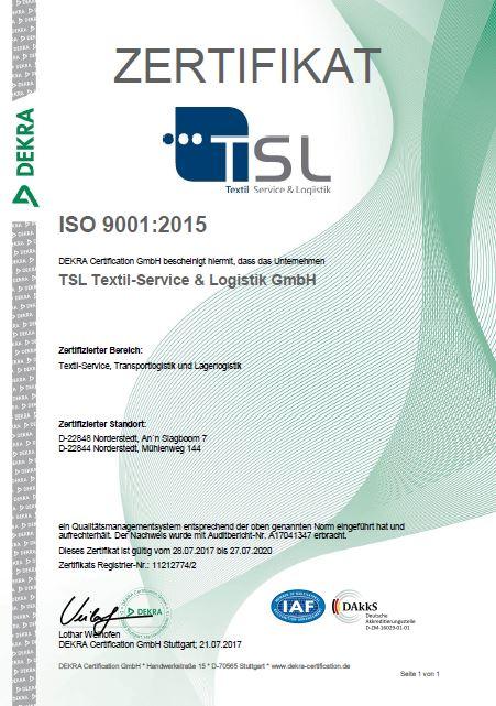Zertifikat Qualitätsmanagement ISO 9001